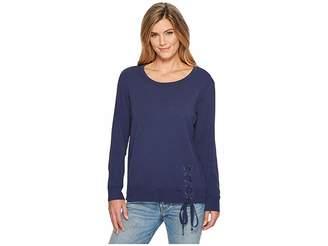 Mod-o-doc Soft As Cashmere Cotton Interlock Sweatshirt w/ Asymmetrical Lace-Up