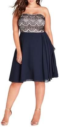 City Chic Eyelash Ebony Strapless Fit & Flare Dress