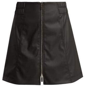 Paco Rabanne Mid Rise Rubber Mini Skirt - Womens - Black