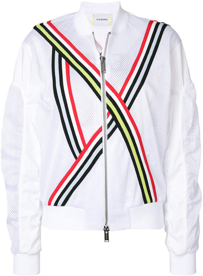 tri-stripe bomber jacket