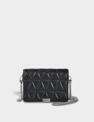 MICHAEL Michael Kors Jade Quilted Medium Gusset Clutch in Black Pyramid Quilted Lamb