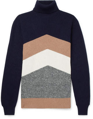 Brunello Cucinelli Chevron Ribbed Virgin Wool, Cashmere And Silk-Blend Rollneck Sweater