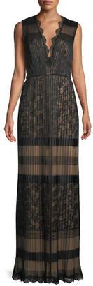 Tadashi Shoji V-Neck Multi-Lace Sleeveless Long Dress