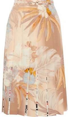 Maison Margiela Pleated Printed Wool-Blend Twill Skirt