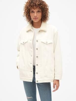 Gap Oversized Sherpa-Lined Icon Denim Jacket