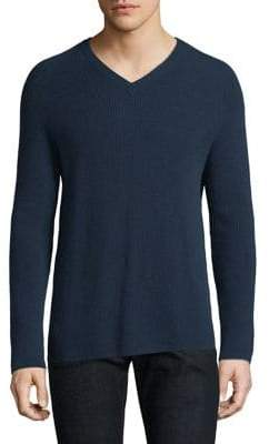 Theory Cashmere V-Neck Rib-Knit Sweater