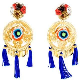 Tassel Pom Pom Chandelier Earrings