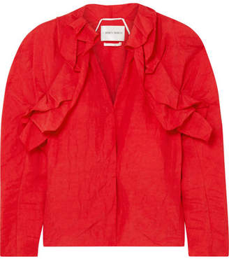 Carmen March - Ruffled Crinkled-taffeta Blouse - Red