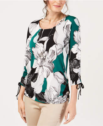 JM Collection Ruched-Sleeve Necklace Top