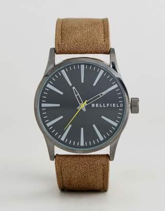 Bellfield Vintage Tan Watch With Black Dial