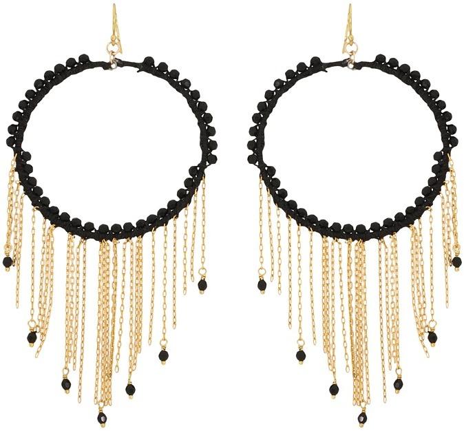 Chan Luu Swarovski Crystal Jet Hoop With Gold Chains (Jet) - Jewelry