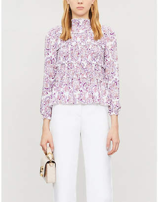 See by Chloe Floral-embroidery flared-hem crepe top