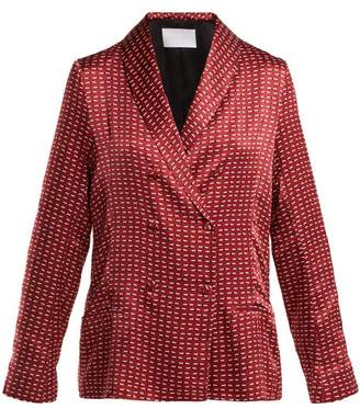 Asceno - Geometric Print Silk Pyjama Style Jacket - Womens - Burgundy Print