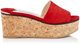 Jimmy Choo DEEDEE 80 Red Suede Sandal Wedges