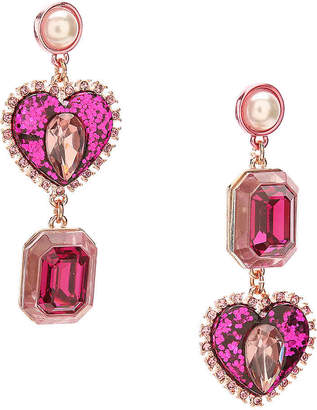Betsey Johnson Heart Drop Earrings - Women's