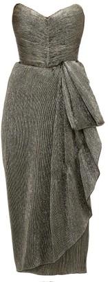 Maria Lucia Hohan Marie Sweetheart Neckline Metallic Dress - Womens - Dark Grey