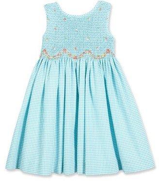 Luli & Me Sleeveless Gingham Seersucker Sundress, Turquoise, Size 2-6X $96 thestylecure.com