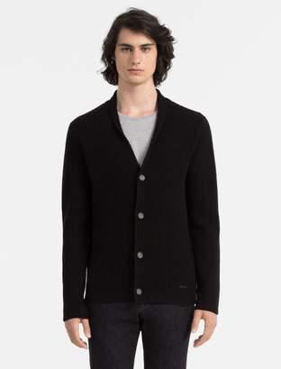 Calvin Klein slim fit wool cashmere ribbed cardigan