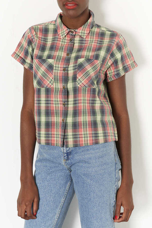 Topshop Short Sleeve Check Shirt