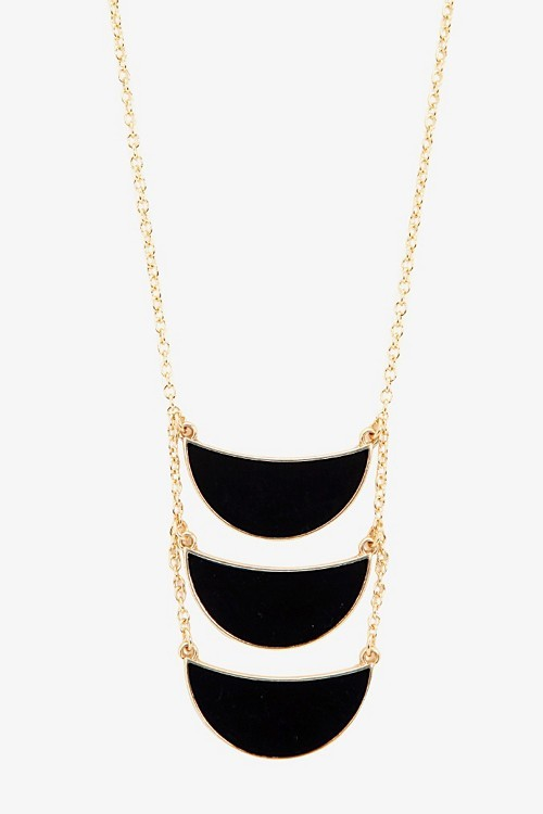 Gold & Black Tiered Half Moon Necklace