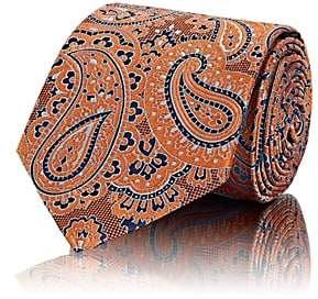 Brioni Men's Paisley Basket-Weave Silk Necktie - Orange