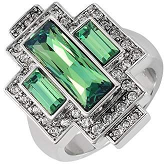 Swarovski Cristalina Gatsby Crysolite Green Art Deco Style Statement Ring with Antique Finish - Size R