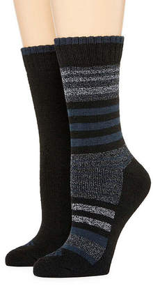 Columbia Womens 2-pk. Moisture Control Striped and Solid Crew Socks