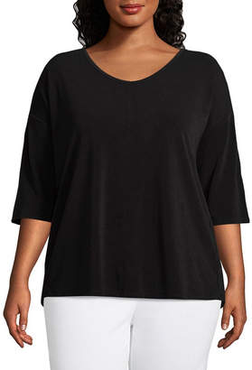 WORTHINGTON Worthington 3/4 Dolman Sleeve Lace Yoke Blouse - Plus