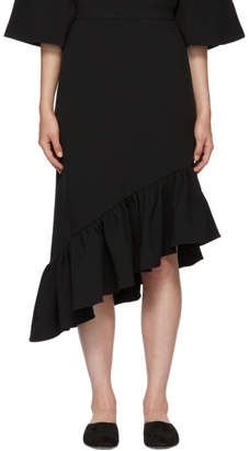 Edit Black Asymmetric Peplum Skirt