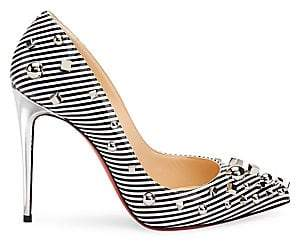 0eede2be1dd7 Christian Louboutin Women s Aimanta 100 Stripe Patent Leather Point Toe  Pumps