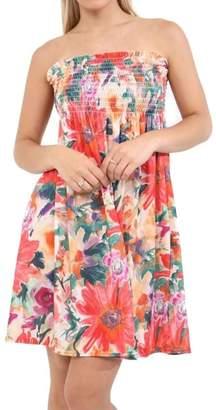 Rimi Hanger Womens Sheering Floral Bandeau Strapless Dress Poppy Floral S/M