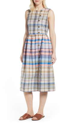 Caslon Plaid Button Midi Dress