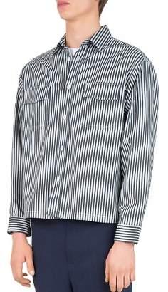 The Kooples Striped Denim Regular Fit Sport Shirt