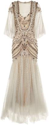 Marchesa Crystal Fishtail Gown