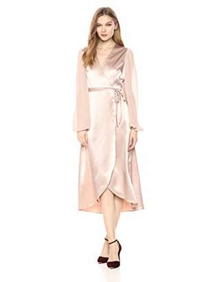 AVEC LES FILLES Women's Long Sleeve Satin Wrap Dress