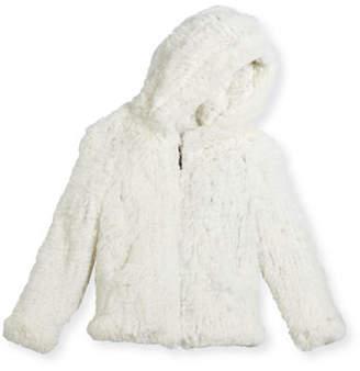 Adrienne Landau Hooded Zip-Front Rabbit Fur Jacket, Size 2-12