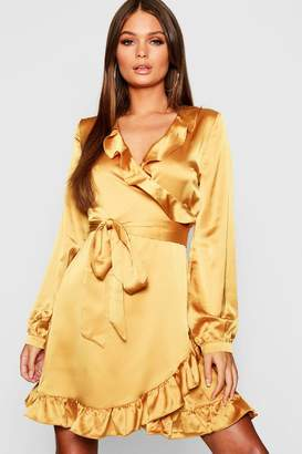 boohoo Satin Wrap Front Tea Dress