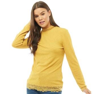 Jacqueline De Yong Womens Apple Long Sleeve Lace Top Golden Spice