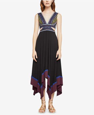 BCBGMAXAZRIA Sleeveless Embroidered Handkerchief-Hem Dress