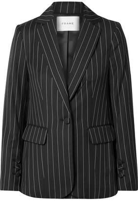 Frame Pinstriped Wool-blend Blazer - Black