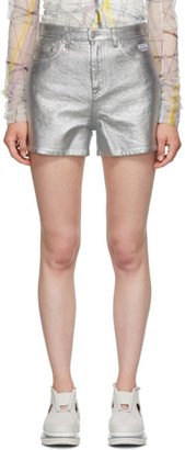 MSGM Silver Denim Bermuda Shorts