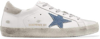 Golden Goose Superstar Distressed Leather And Denim Sneakers - White