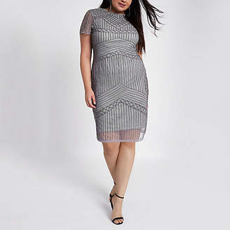 River Island Womens Plus Grey beaded bodycon mini dress