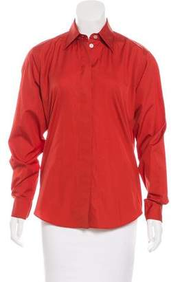 Hermes Long Sleeve Button-Up Top