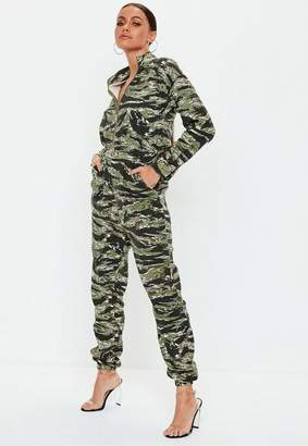 Missguided Green Camo Utility Romper