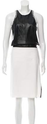 Helmut Lang Leather-Paneled Cutout Dress