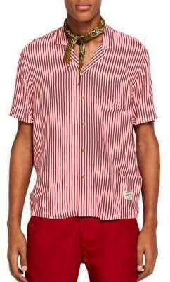 Scotch & Soda Striped Hawaiian-Fit Button-Down Shirt