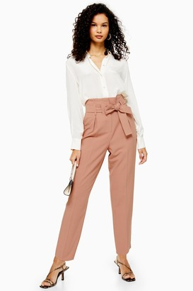 Topshop Womens Nude Stitch Belt Peg Trousers - Nude