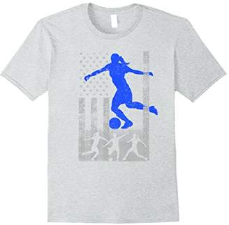 Soccer American Flag - Blue Female Soccer Player Flag Shirt
