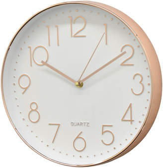 Three Hands Corp White & Rose Gold-Tone Wall Clock